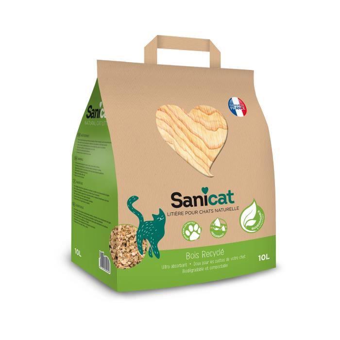 SANICAT Litière en bois recyclé, compostable et recyclable - Pour chat