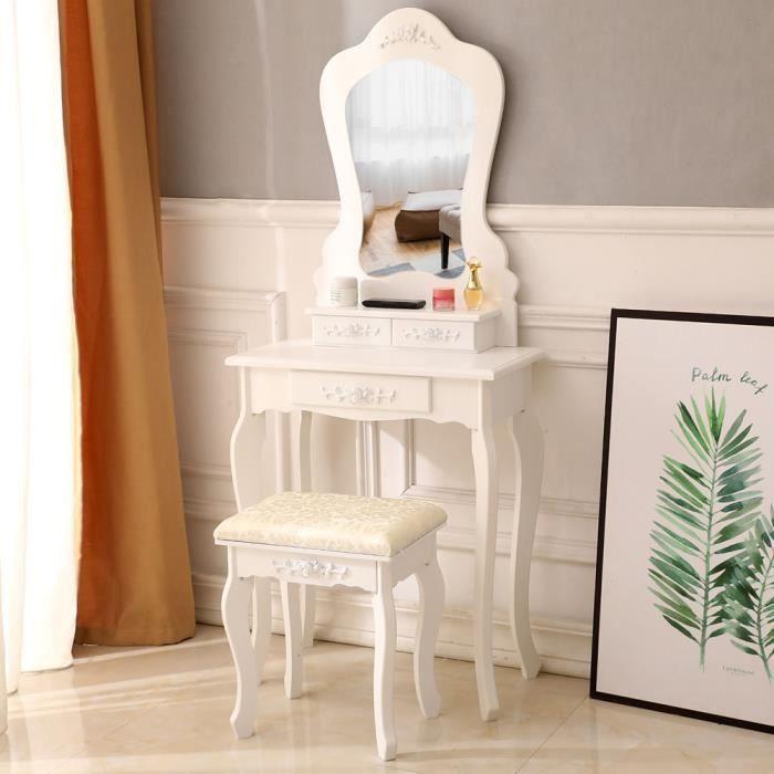 Coiffeuse design, miroir, 3 tiroirs coulissants, tabouret,60 x 30 x 70-138 cm, pieds en bois