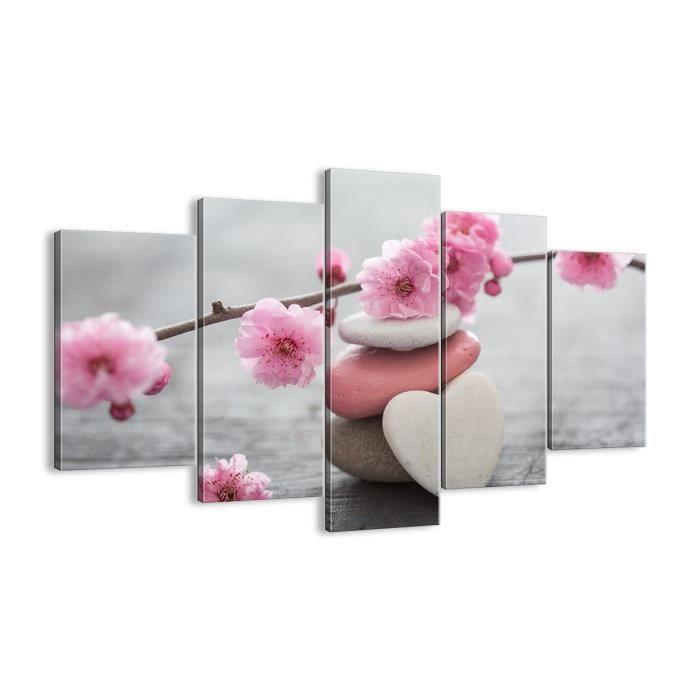 Décoration murale. Triptyque mural. Impression sur Toile pour chambre et salon, fleur d'eau en pierre EA150x100-3178