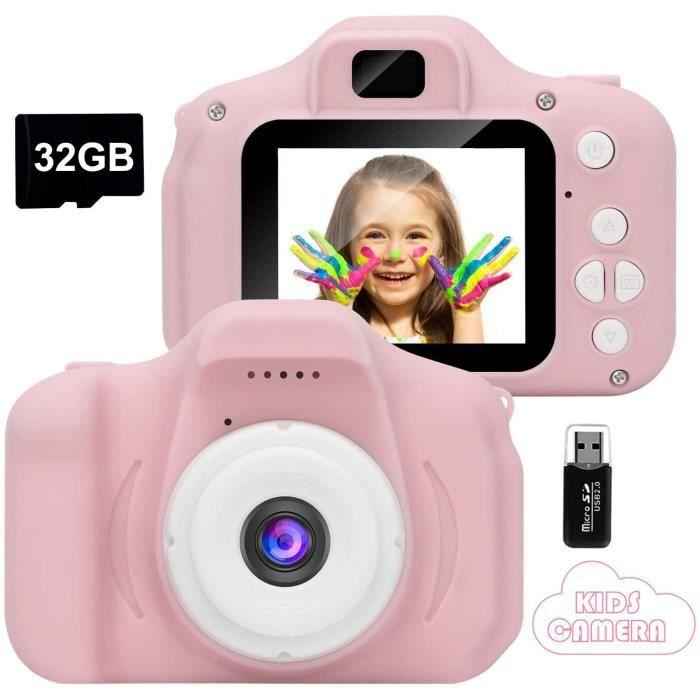 Appareil Photo pour Enfants,Mini Caméra Numérique Rechargeable Caméscope Antichoc Photo/vidéo pour Filles Garçons de 3 à 10 Ans