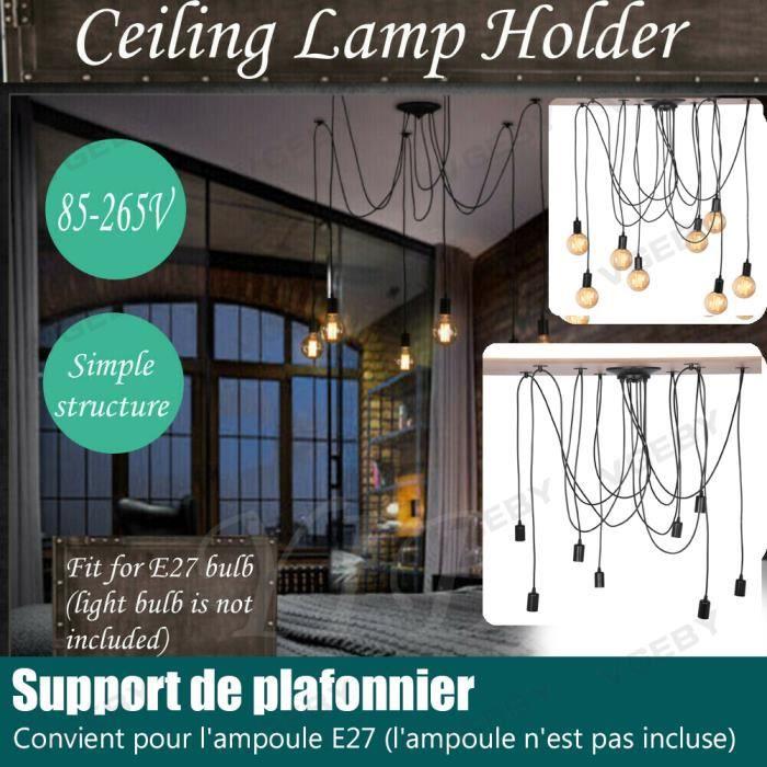 Araignée Lampe 8 tête E27 rétro industrielle Loft bricolage lustre luminaires vintage Noir Sans ampoule -SIE