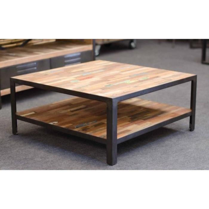 Table basse carrée factory 80 cm x 80 cm