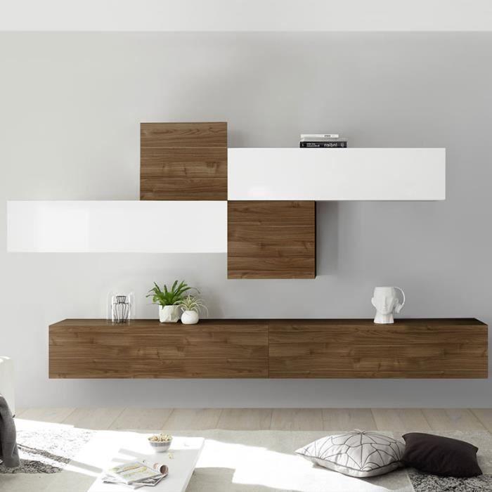 Meuble TV suspendu blanc laqué et couleur noyer PAPIANO Marron L 275 x P 30 x H 200 cm