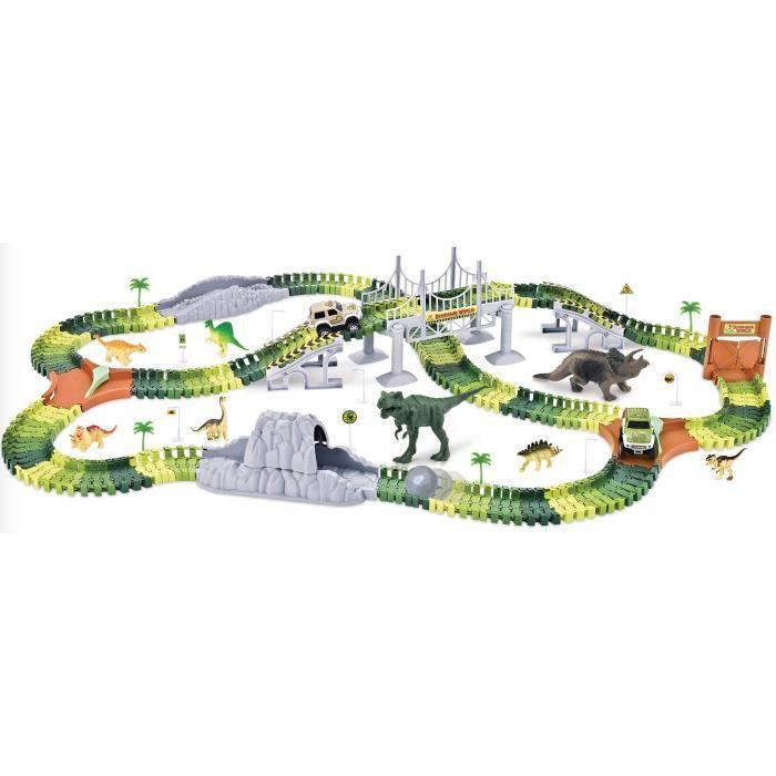 PIFUN Circuit flexible Dinosaures 240 rails + 1 voiture + x2 Bifurcation / Pont suspendu et rampes / Double porte / 8 Dinosaures...