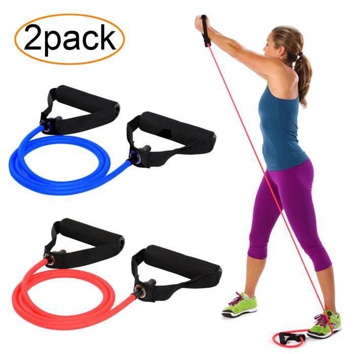 AXYSM Bandes d'exercice et de résistance 2 Set, tubes de résistance avec poignées en mousse 2 niveaux - moyen-lourd pour Pilates,