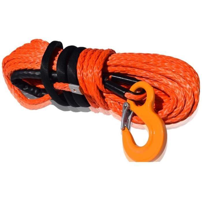 Corde syntheacutetique pour treuil 12 mm x 30 m Pour quad ou UTV, Cacircble treuil en kevlar pour quads (12mmtimes30m, orange)