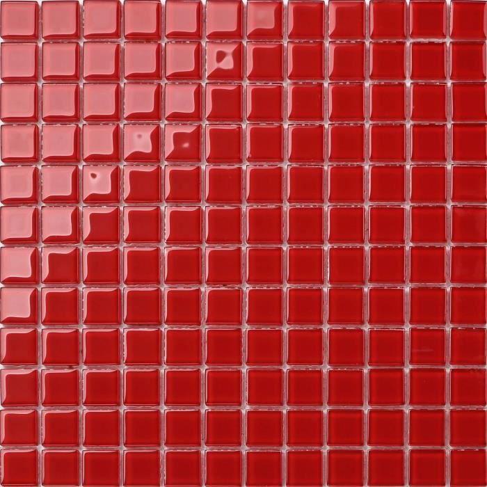 Carrelage mosaïque en verre. Rouge. 30cm x 30cm pour les murs (MT0022)