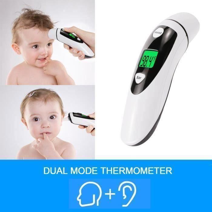 Thermomètre frontal et auriculaire numérique ,thermomètre infrarouge professionnel 2 en 1 multifonction pour Bébé, Enfant et Adulte