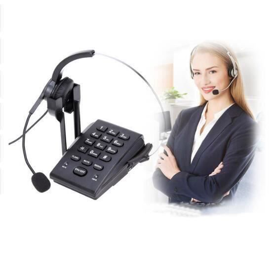 HT300 Mains-livraison Business Filaire Fixe Casque téléphone Center D'appels de Bureau Bureau Téléphone Anti-Bruit Unique- Fes105853