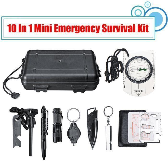 10 en 1 SOS Équipement Survie Urgence Multi-fonction Outil de Survie d'aventure Boîte Premiers Secours Randonnée Camping
