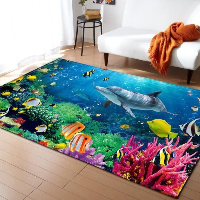 NO-11. 150X100cm Tapis de sol doux pour enfants - Tapis de grande taille 3D, dauphin/requin/poisson, tapis de sol, tapis de sol, tap