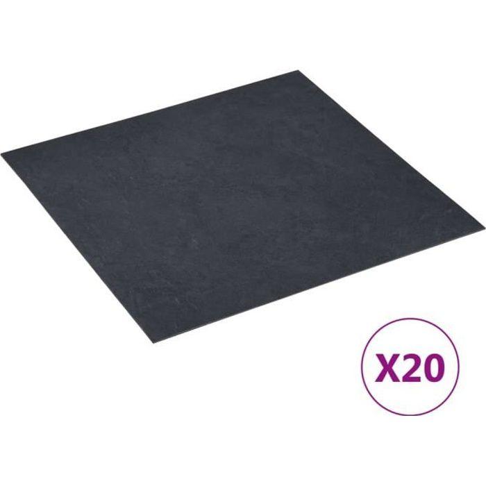 1739NOUVE]Lot de 20 Planches plancher autoadhésives,Dalles Peint Revêtement Mural Sol Décor Salon Chambre PVC 1,86 m² Marbre noir SI