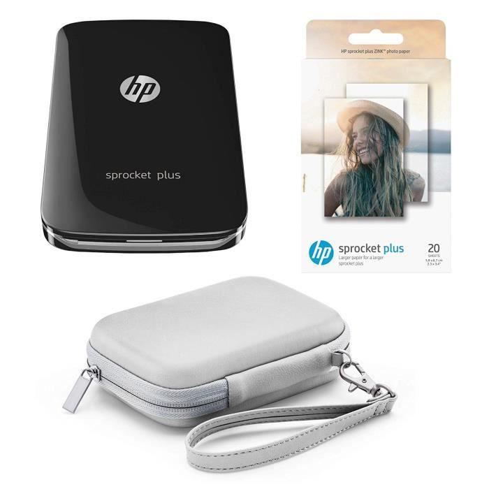 Pack Hp Sprocket Plus – Imprimante Photo Portable Noire + Housse Grise + 20 Feuilles Zink (Impression Couleur, 5.8 x 8.6cm, Bluet