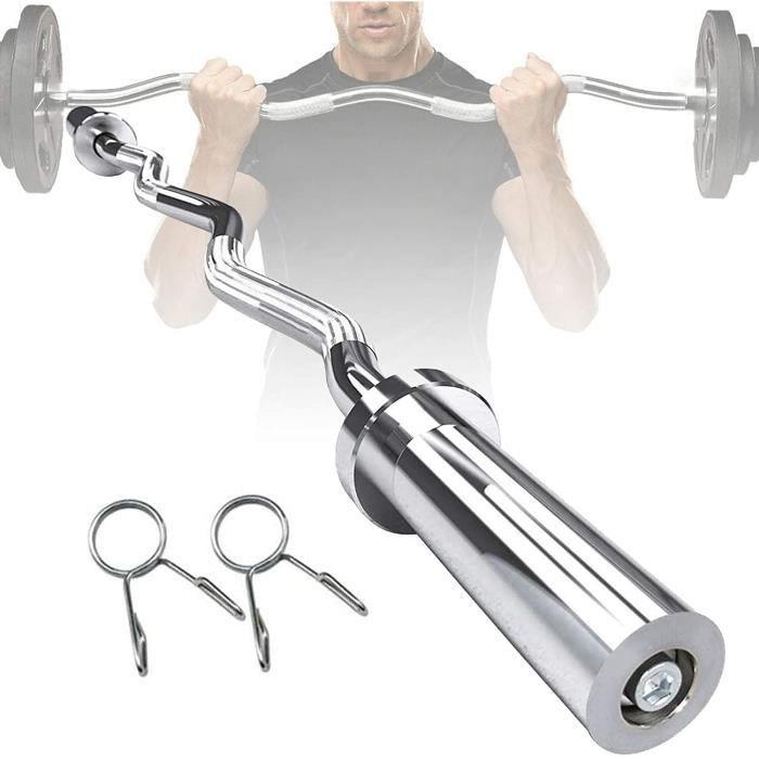 BANC DE MUSCULATION 47--59- Professionnelle Curl Bar,Barre Curl,Chrom&eacutee et avec Molet&eacutee Barre de Musculation Bar500