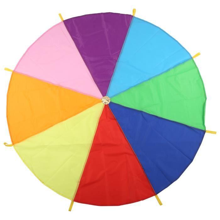 Sonew Parachute enfant Jeu de Parachute Coloré Multifonction Équipement d'Éducation Précoce pour Coopération de Groupe(2m )