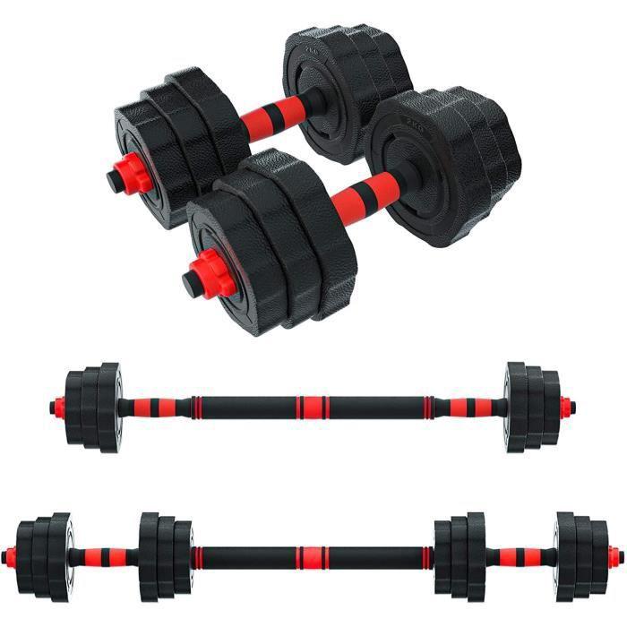 Poids Musculation, Arespark 20KG Haltere Reglable, Alteres Musculation Homme Femme, Kit Haltere Musculation Reglable avec Barre