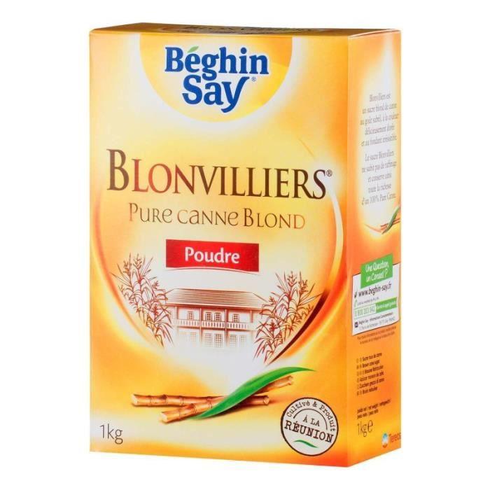 Béghin Say Sucre Blonvilliers Pure Canne Blond Poudre 1Kg (lot de 6)
