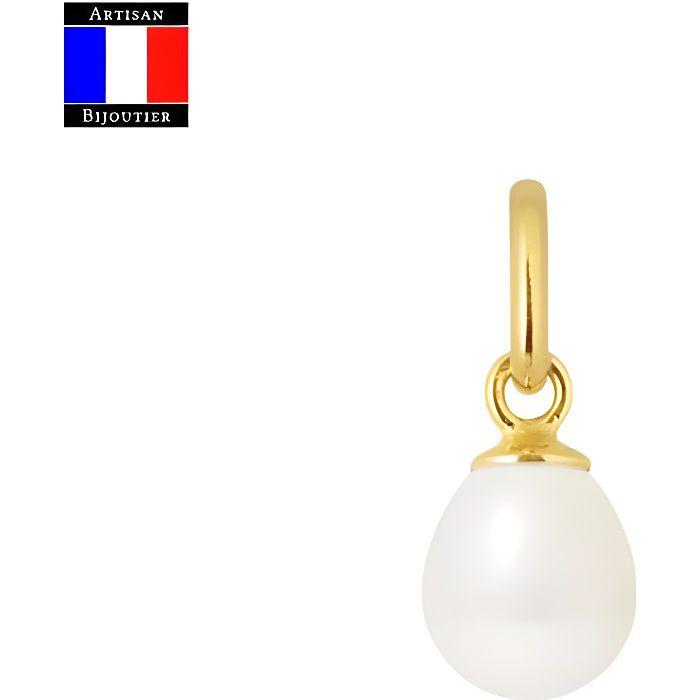 Compagnie Générale des Perles - Pendentif Articulée Véritable Perle de Culture Poire 6-7 mm - Or Jaune 18 Carats - Bijou Femme