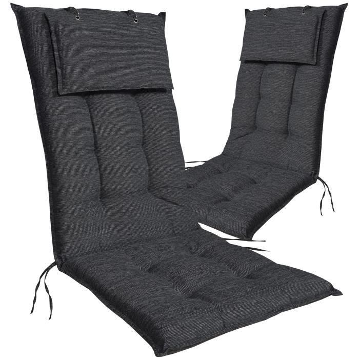DILUMA - 2x Coussins pour chaises d'extérieur Luxor à dossier haut GRAPHITE 119 x 50 x 8 cm - Rubans de fixation - EU - ÖkoTex100