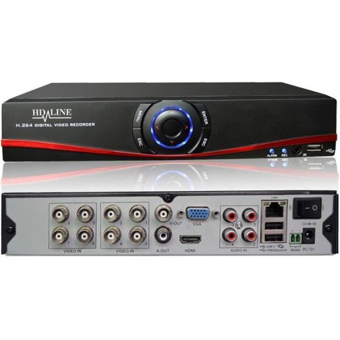 Enregistreur DVR avec Application et tutoriel - 8 sorties Hybride AHD et IP - H.264 Vidéosurveillance caméras AHD 960P et IP 1080P