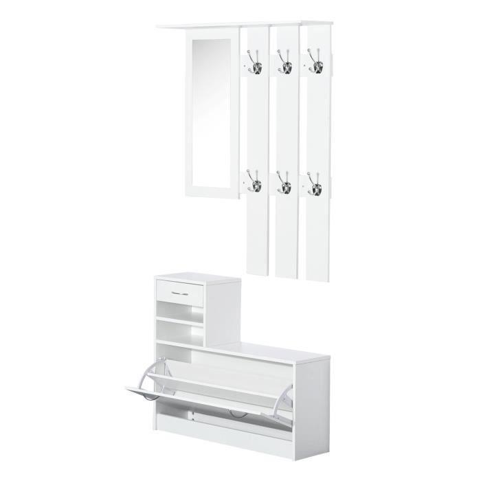 Ensemble de meubles d'entrée design contemporain : meuble chaussures, miroir et panneau porte-manteau blanc neuf 46WT