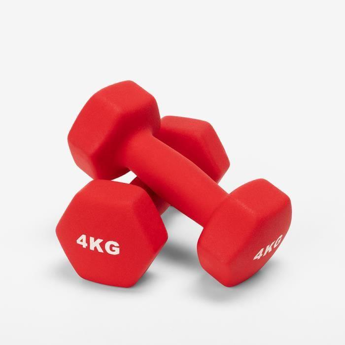 Paire de 2 poids haltères 4kg Gym et Vinyle Fitness Megara
