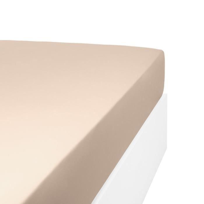 LINANDELLE - Drap housse uni coton Percale 200 fils DESIREE - Beige foncé - 70x190 cm