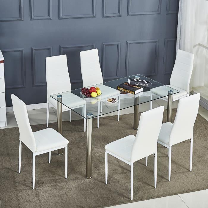 Lot de 6 chaises de salle à manger en simili, Chaise de cuisine,cuir artificiel, Style contemporain, Blanc, 6 pcs-Mondeer