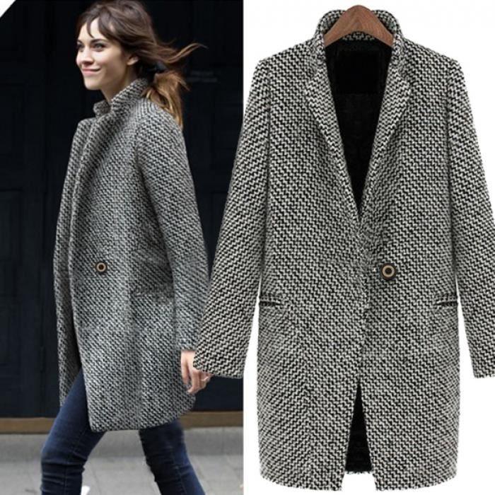 Trench-Coat femme Finejo hiver chaud revers laine longue veste