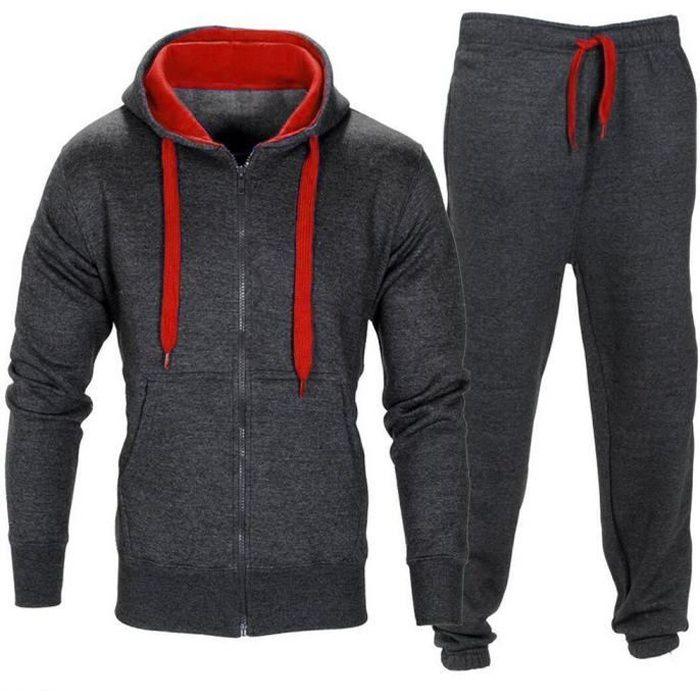 Hommes Pantalons Élastique à capuchon Veste Pantalon de jogging Manteau Sport Survêtement Set gris