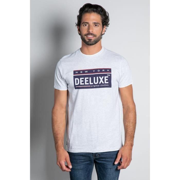 DEELUXE T-shirt double col logoté NASCENT Light Grey Mel