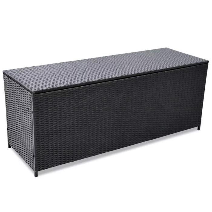Banc de rangement Boîte de rangement d'extérieur Résine tressée Noir 150x50x60 cm