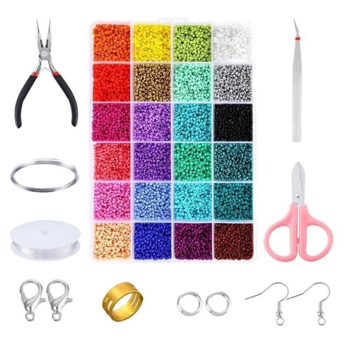 1 ensemble de fournitures de fabrication de bijoux Kit de perles de rocaille colorées petites BRACELET - GOURMETTE - JONC