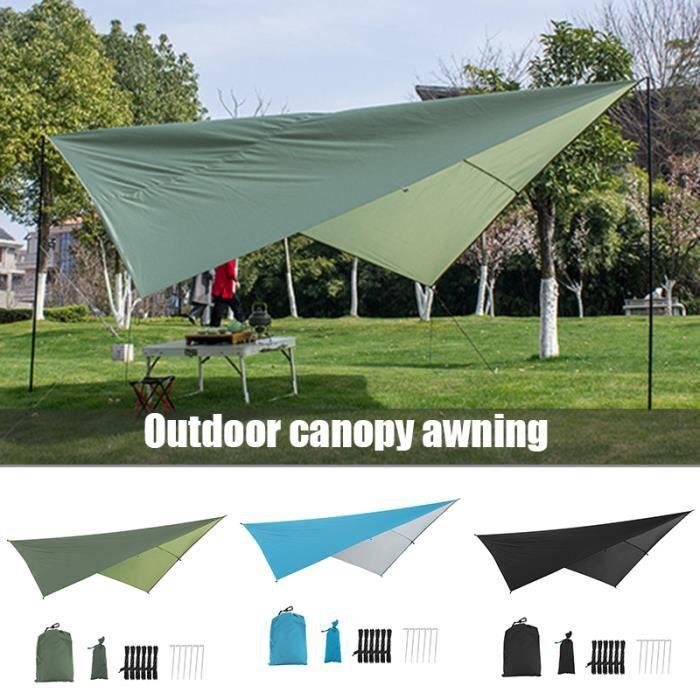 Bâche Anti-Pluie Tente Imperméable Abri de Randonnée Pliable Léger Imperméable à l'eau pour Camping Protection Soleil - VERT