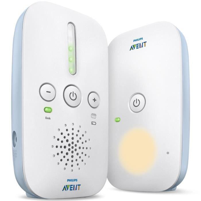 PHILIPS AVENT SCD503/26 BabyPhone DECT Mode Smart ECO, très longue portée - Bleu clair et blanc