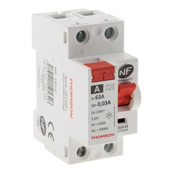 Interrupteur différentiel à vis - 30mA type A 63A NF - Thomson