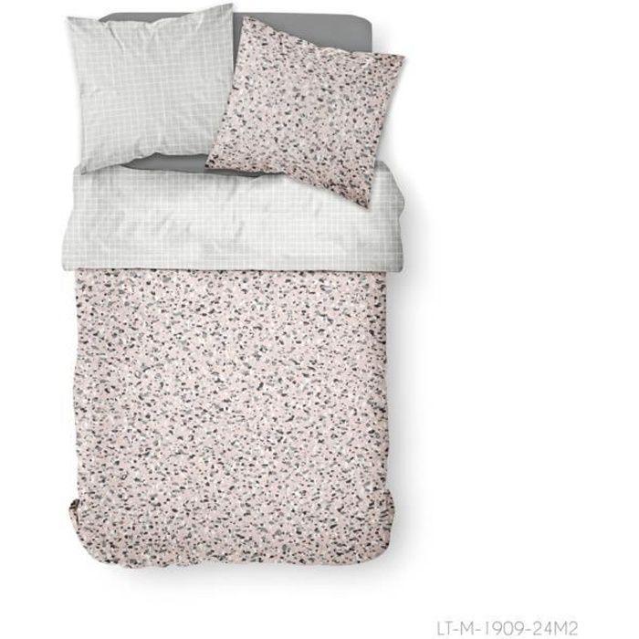 Parure de lit 2 personnes 240X260 Coton imprime rose Graphique SUNSHINE