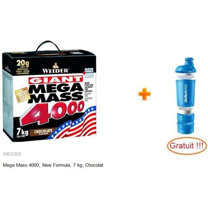 WEIDER MEGA MASS 4000 Chocolat 7 kg + Shaker