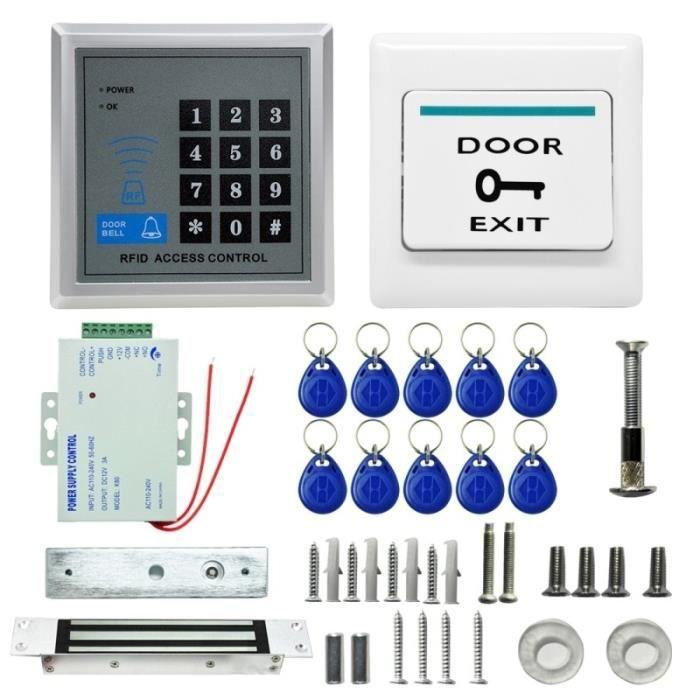 Kit de contrôle d'accès MJPT015 RFID Kits système serrure magnétique 10 ID Keyfobs Alimentation Bouton sortie