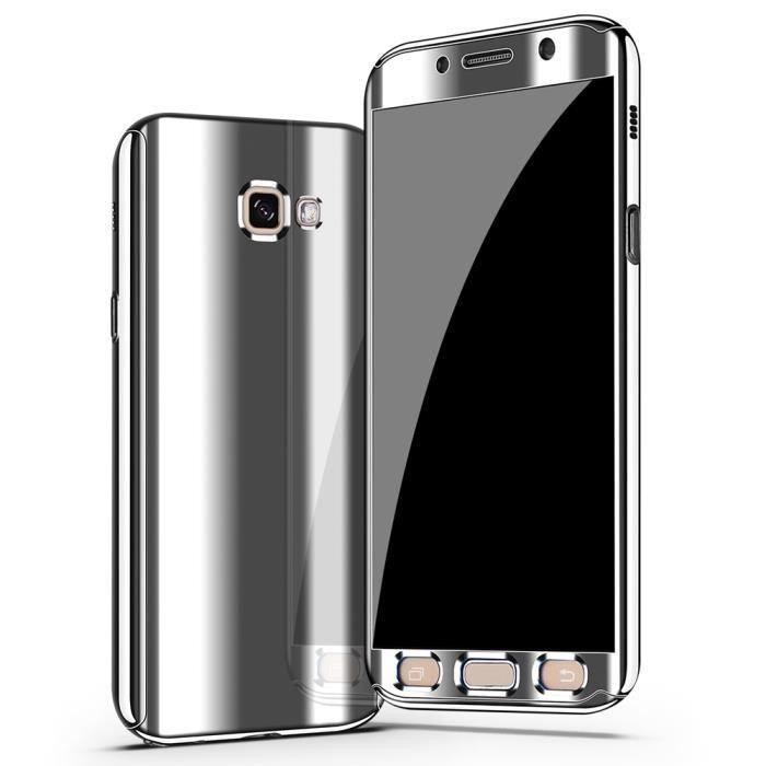 miroir PC Hard case+Film protecteur d'écran de verre trempé Cover Coque pour Samsung Galaxy A5 2017 A520 -argent