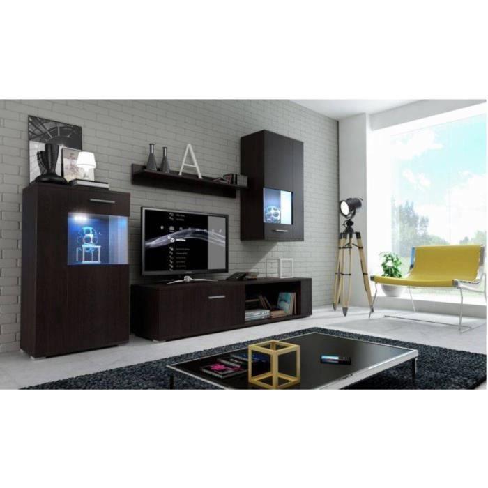 MEUBLE TV MURAL Meuble de salon, meuble TV complet FOX wengé mat +