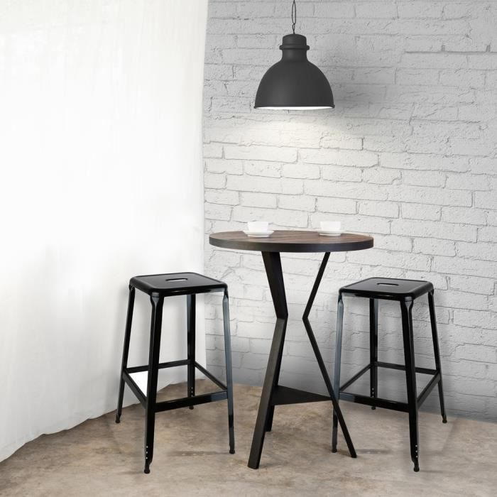 tabouret metal noir x 2 achat vente tabouret de bar les soldes sur cdiscount cdiscount. Black Bedroom Furniture Sets. Home Design Ideas