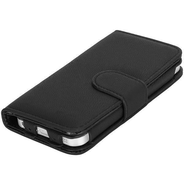 Coque etui housse iphone 5 porte carte folio cuir noir for Etui housse iphone 5