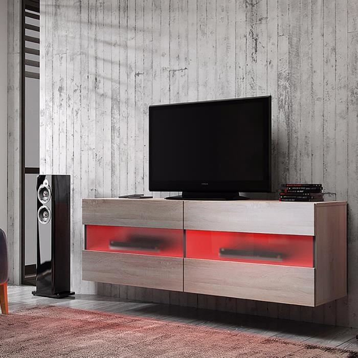 Meuble tv brico sonoma clair avec led rouge achat for Meuble tv rouge