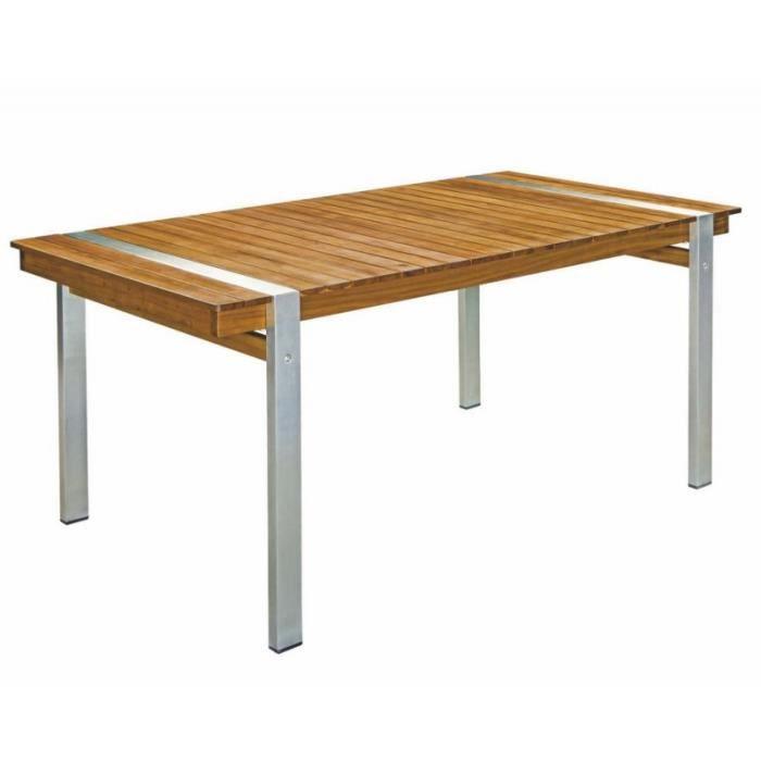 Table de jardin 220cm en bois et acier NAVARRA - L 220 x l ...