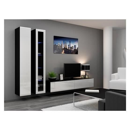 ensemble meuble tv design viko noir et blanc achat. Black Bedroom Furniture Sets. Home Design Ideas