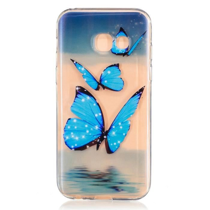 tui pour samsung galaxy a3 2017 papillon bleu jolie doux transparent cadre tpu achat housse. Black Bedroom Furniture Sets. Home Design Ideas
