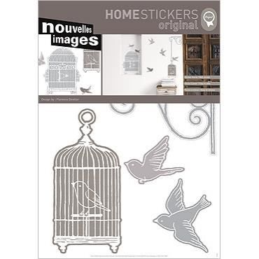 Stickers muraux adhesif mural xxl cages oiseaux achat for Plaque adhesif mural