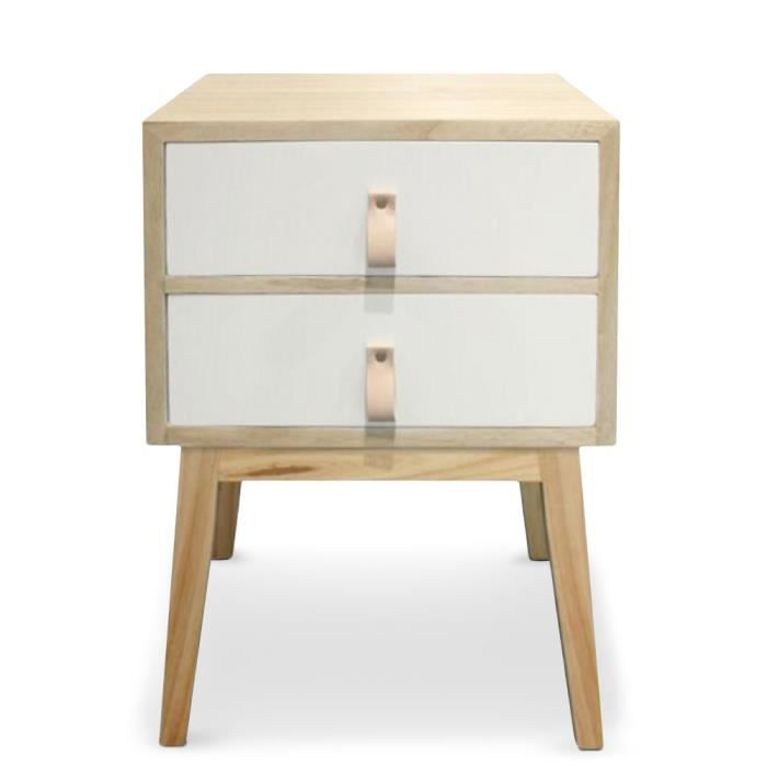 Table de chevet 2 tiroirs style scandinave fjord blanc achat vente chevet - Cdiscount table de chevet ...