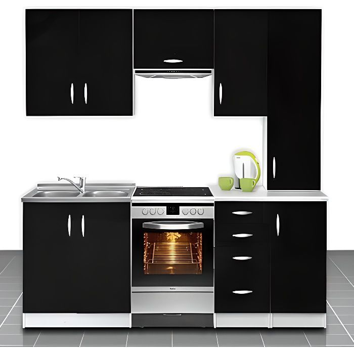 cuisine quip e de 2m20 oxane noir achat vente cuisine compl te cuisine quip e de 2m20 oxa. Black Bedroom Furniture Sets. Home Design Ideas